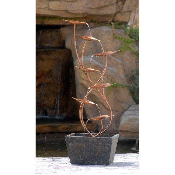 metal leaves cascade indoor or outdoor floor water fountain