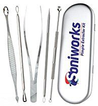 Blackhead and Pimple Remover Kit - Instructions Included - 5 Surgical Extractor Tools - Excellent for Acne Treatment, Pimple Popping, Blackhead Extraction, Zit Removing, Blemish Removal,...
