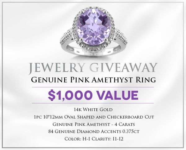 Enter to #Win a Genuine Pink Amethyst & Diamond Ring! @Holsted_Jeweler #jewelry #giveaway #holstedjewelers