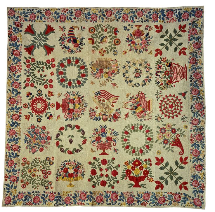 Appliqué Album Quilt, Baltimore, Maryland, 1848; cotton; 100 1/4 x 100 1/4 inches; Saint Louis Art Museum