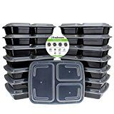 #8: Freshware Meal Prep Containers [15 Pack] 3 Compartment with Lids Food Containers Lunch Box | BPA Free | Stackable | Bento Box Microwave/Dishwasher/Freezer Safe Portion Control 21 day fix (32 oz) #FabOffers #FabBestSellers #Home #Kitchen