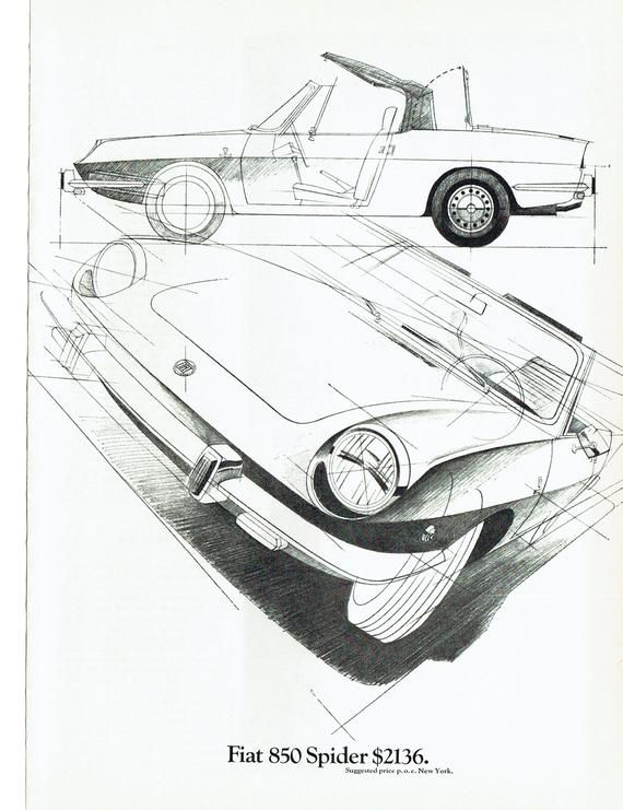 1969 Advertisement Fiat 850 Spider Sketch Drawing Plans Engineering