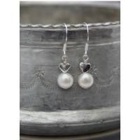 white pearl and silver heart earrings in Steal her Style @Wedding Ideas Magazine Must do some Coral coloured jewellery!