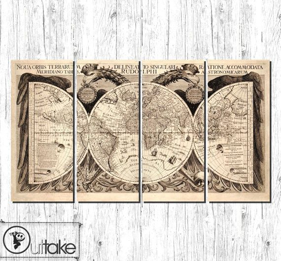 The 25 best world map fabric ideas on pinterest world map vintage style antique world map fabric canvas art ready to hang large 4 panels gumiabroncs Gallery