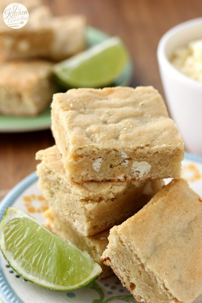 White Chocolate and Lime Blondies Recipe l www.a-kitchen-addiction.com I need this right now, I have an abundance of limes.