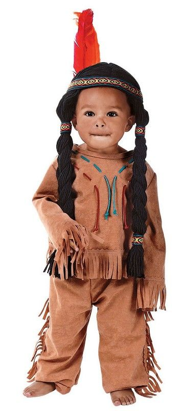 Native American Toddlers Halloween Costume $20.00  You've never seen such a cute baby until you dress yours in this awesome Native American Toddler Halloween Costume. The Native American Toddler costume includes a feathered headband with attached yarn hair, a fringed shirt, and a pair of fringed pants. Toddler Halloween costumes