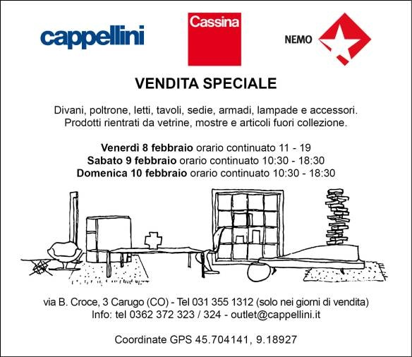 8-9-10 febbraio: tre giorni di vendita speciale Cappellini, Cassina, Nemo  Per maggiori info: www.designxall.com