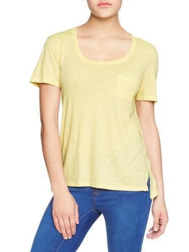 Women's Tee XXL GAP Step-hem Pocket top Raw Rolled Layered Trim Yellow NWT #GAP #KnitTop #Casual