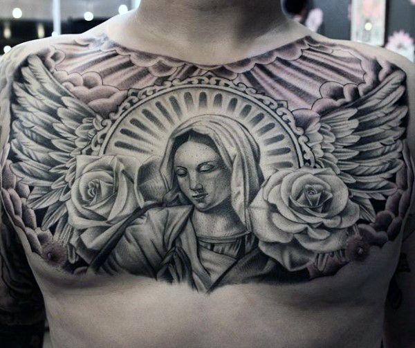 Virgin Mary With Wings And Rose Flowers Guys Chest Tattoo