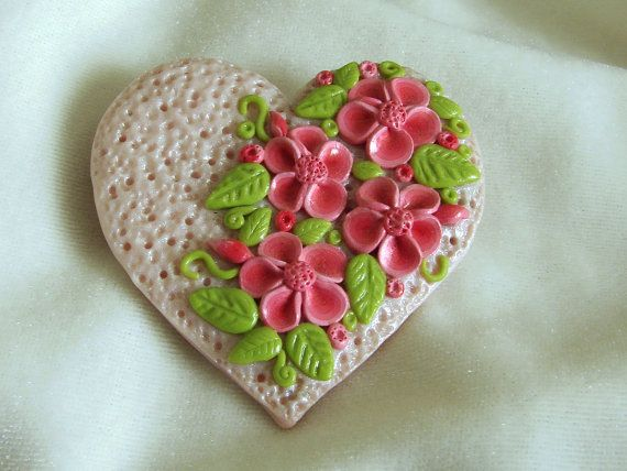 Hearts and Flowers Polymer Clay Pin by HeartofClayDesigns on Etsy, $30.00