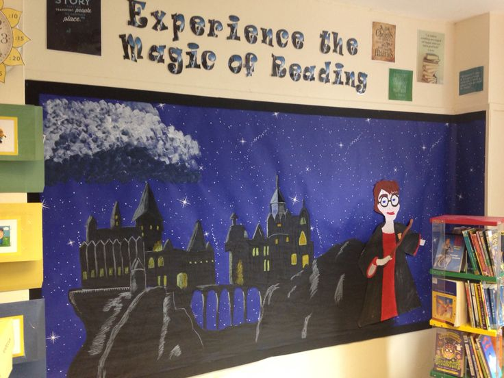 Harry Potter Hogwarts themed reading corner in Key Stage 2 classroom