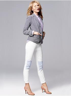 Gap | Classic Stripe Ponte Blazer, Fitted Boyfried dot Oxford shirt, 1969 Contrast-knee always skinny jeans