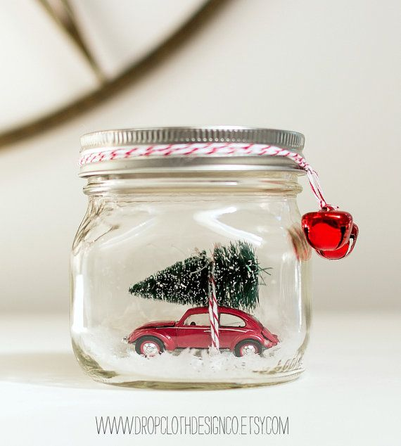 Snow Globe - Car in Mason Jar - Vintage Volkswagen Beetle Snow Globe