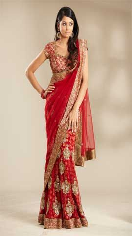 An all Red semi bridal look is created using Red brocade short stylish choli and Red net panneled lehenga with zardosi pitta work allover buta and daman Red banarasi encrusted border worn with full width red net dupatta with banarasi pallu border.USD $454.72
