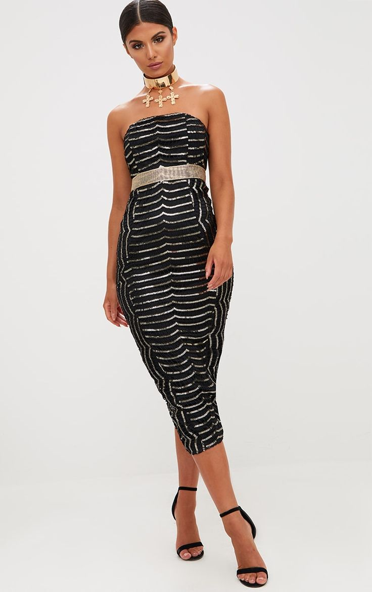 Premium Black Lace Bandeau Midi Dress