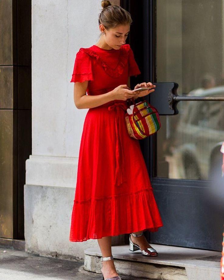 Red dress & silver block heel sandals | @styleminimalism