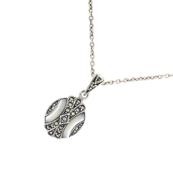 """Mother of Pearl Marcasite Pendant €73.00 Mother of Pearl This Pendant comes with a Standard 18"""" Sterling Silver Neck Chain."""
