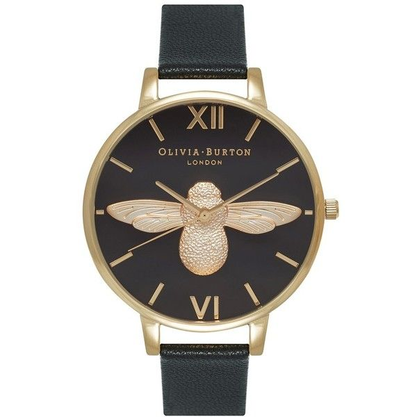 Women's Olivia Burton 'Molded Bee' Leather Strap Watch, 38Mm (€195) ❤ liked on Polyvore featuring jewelry, watches, honey bee jewelry, bumble bee jewelry, olivia burton watches, fancy jewellery and fancy watches