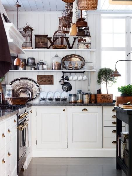 All Things Shabby - just love these darker counter tops mixed with the whites, brass pulls and natural fibres!