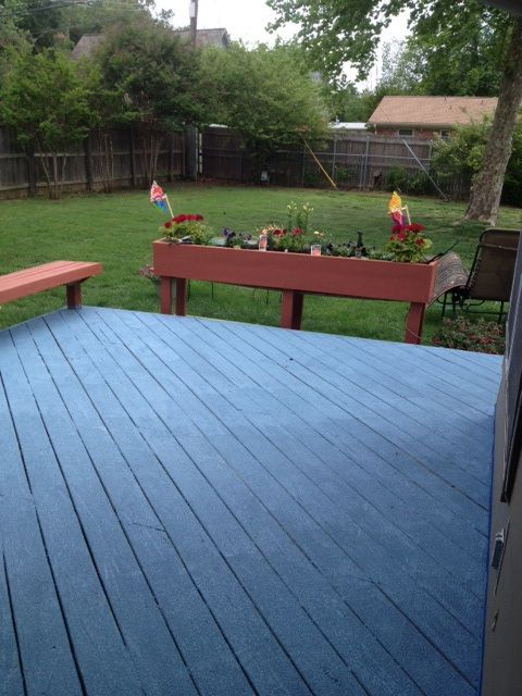 New Cool Blue Deck With Terra Cotta Planter And Bench. Love The Rustoleum  Textured Concrete And Deck Paint! No Slipping And Way Cooler To Walk On.