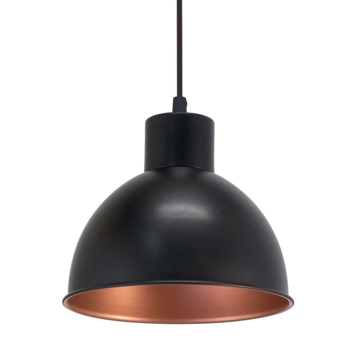 Kitchen Pendants - Vintage Black Globe Pendant Light, the shade has a Copper Inner Colour. This light fitting adds a Retro Style to any room with its unique design. Eglo 49238