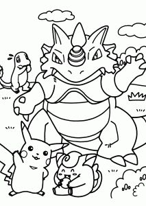 Pokemon dragon manga coloring pages for kids, printable free