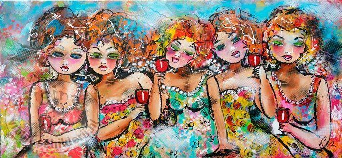 Vrolijk Schilderij Gezellig met de meiden