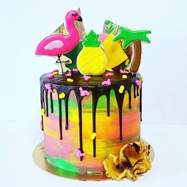 Flamingo pineapple drip cake