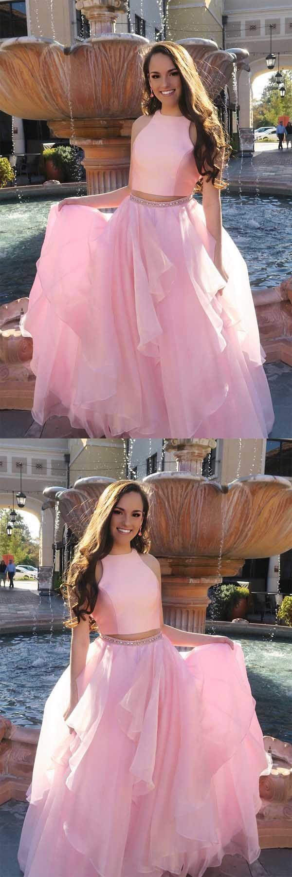 Princess Two Piece Pink Long Prom Dress with Open Back PG540 #promdress #eveningdress #2018promdress #tulledress #twopiece #pgmdress #pinkdress #partydress