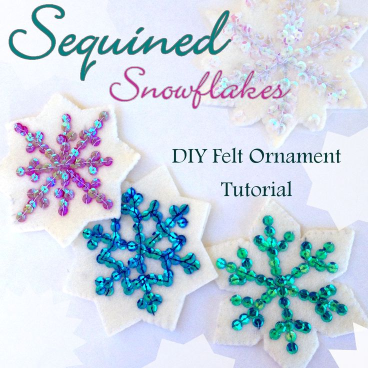 Sequined Snowflake Ornament Tutorial - Tons more free felt Ornament Patterns