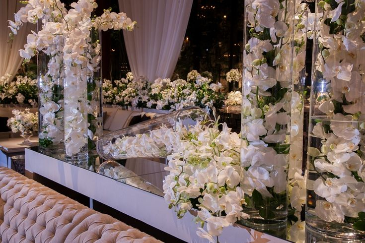 Vasos repletos de orquídeas brancas