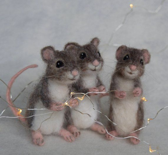 Nadel Gefilzt Maus Bewegliche Realistischen Lebensgrossen Etsy Felt Mouse Needle Felting Needle Felted Animals