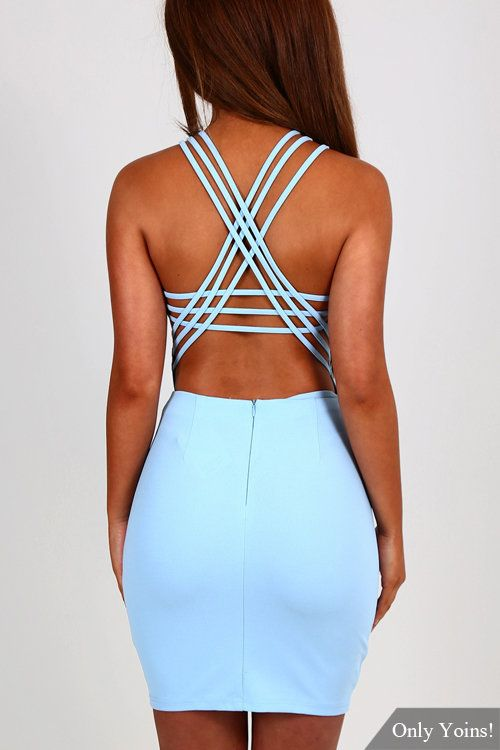 Gorgeous little strappy powder bue mini dress! The powder blue color is perfect for showing off our holiday tans and the backless straps back is so lush! This dress fastens with a concealed zip to the back and will look fab with a pair of killer heels and a clutch bag. #sexy #strappy #bodycon #club_dresses #strappy_dresses