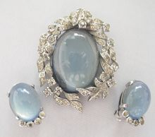 #97 Jomaz Blue Cabochon Pin & Earrings $375 at Lee Caplan vintage Collection on RubyLane