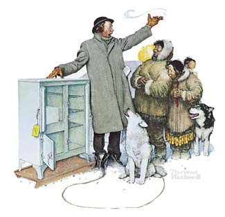 Expert Salesman - Norman Rockwell  (An ice box being sold to Eskimos) !!!!