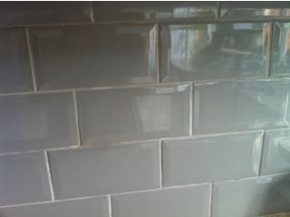 KITCHEN BATHROOM WALL SPLASHBACK GREY BEVELLED EDGE BRICK STYLE TILES Kitts  Green Picture 1