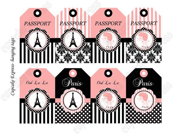 DIY Paris Birthday Party Collection PRINTABLE by CupcakeExpress, $4.00