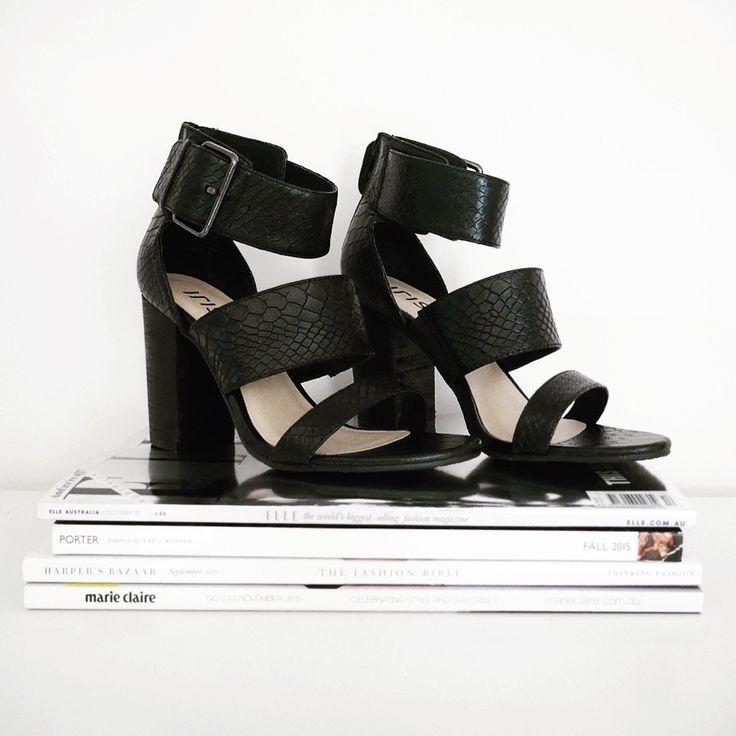 TIBBY // snake print block heel sandals