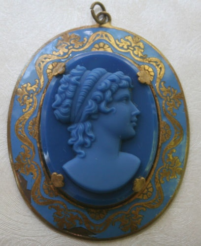 70 best cameos images on pinterest ancient jewelry antique beautiful vtg old lrg blue oval molded glass cameo pendant enameled brass frame mozeypictures Images