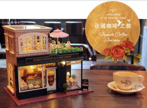 Wooden-Handmade-Dollhouse-Miniature-DIY-Kit-Paris-cafe-Furniture-Accessories