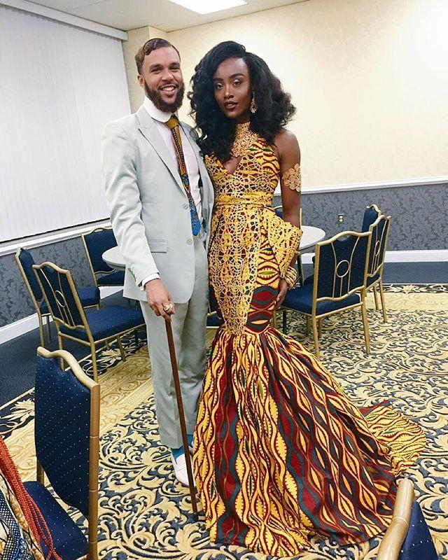 Jidenna & I last night after the 2015 @allthingsankara Nigerian Renaissance Ball!   Dress by evening wear extraordinaire @kingaiyeh! All of the amazing jewelry is from @eleganzafashions!