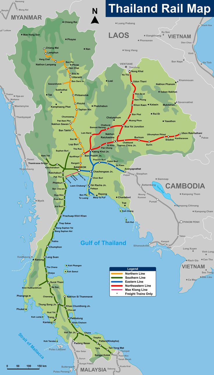 Pin canadian national railroad map on pinterest - Thailand Rail Map Just In Case We Don T Fly To Phuket