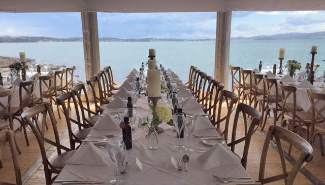 Marquee Wedding at The Anchorage, Port Stephens - cross back timber chairs