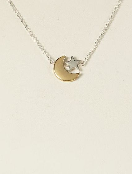 Silver & Gold Moon & Star Necklace
