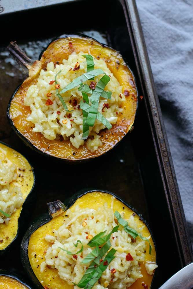 Risotto Stuffed Acorn Squash Recipe Thanksgiving Side Dishes