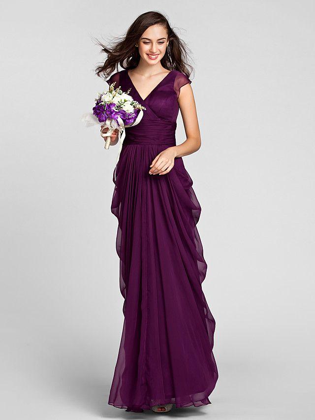 スレンダーライン ブライドメイドドレス グレープ シフォン Vネック フロア 大きいサイズ / 小柄 - USD $99.99