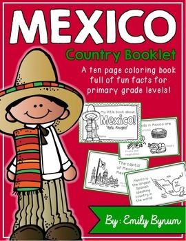 "This ""All About Mexico"" booklet can be used for a very basic country study in lower elementary grades! Each page contains a basic fact and related illustration. All graphics are in an outline format so that it's ready to be colored like a mini-coloring book.This coloring booklet gives all the general/basic information about Mexico, including:-geography (largest Spanish speaking country)-Mexican flag-capital city of Mexico City (famous sites)-popular Mexican foods-most popular sport…"