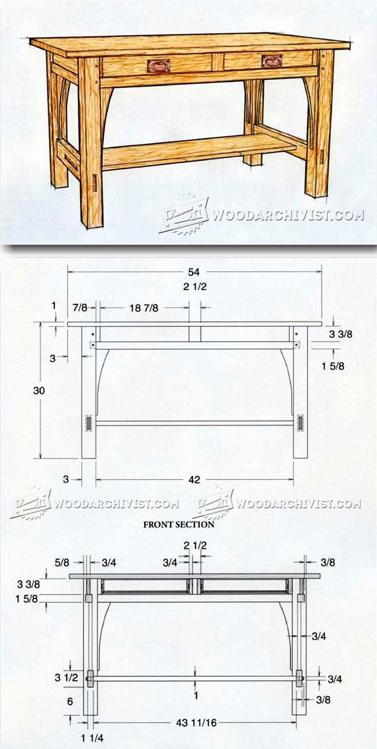 Library Table Plans - Furniture Plans and Projects | WoodArchivist.com