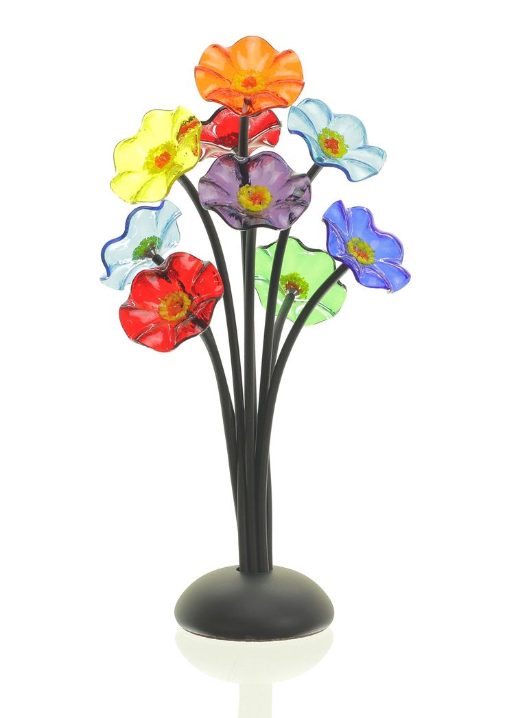 Flowers for Delivery - Art Glass Flower Bouquet Handmade by Artists Scott & Shawn Johnson (Black)