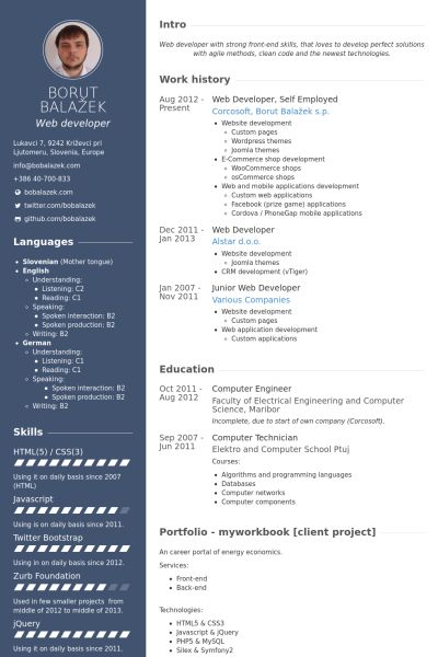 web developer sample resumes